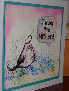Background created with Brushos , Tim Holtz Crazy Bird Stamp stamped on gesso book page, coloured with Spectrum Aquas,!