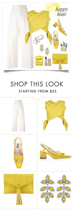 """pretty lady "" by tato-eleni ❤ liked on Polyvore featuring Jacquemus, MSGM, Neiman Marcus, Elizabeth Cole and Versace"