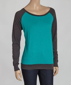 Look at this Jade & Charcoal Raglan Tee on #zulily today!