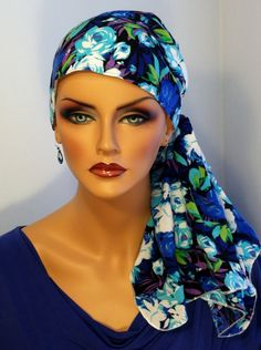 Pre-Tied 'Jessica' Scarf - Summer Flowers Cancer, Chemo, Alopecia head covering for women experiencing hair loss by InspirationalHeadCov on Etsy