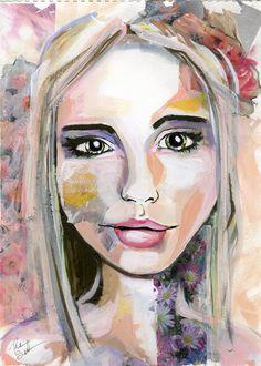 Portrait Painting Watercolor Female Floral by SneddonStudios, $30.00