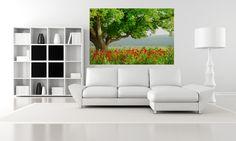 Color.    http://www.wallmonkeys.com/7853282/FOT/Poppy%27s+field+and+big+green+tree