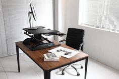 Another stunning shot of an adjustable height desk from VARIDESK - Office 2020, Office Desk, Home Office, Sit To Stand, Stand Up Desk, Adjustable Height Desk, Desk Accessories, Drafting Desk, Studio