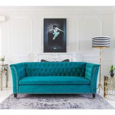 Nightingale Teal Blue Velvet Sofa, The French Bedroom Company's  Designer Sofa shows confidence, stylish flair and flamboyant charm.