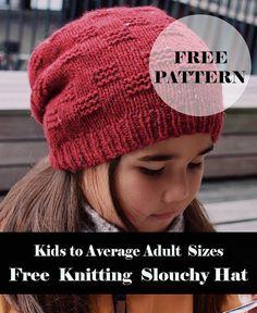 Knit Slouchy Hat Pattern, Easy Knit Hat, Knitted Headband Free Pattern, Beanie Knitting Patterns Free, Slouchy Beanie Hats, Knitting Tutorials, Knitting For Kids, Easy Knitting, Knitted Hats Kids