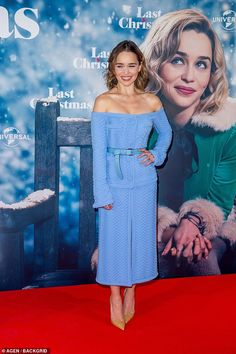 Emilia Clarke looks radiant in a pale blue co-ord as she hits the red carpet for Last Christmas photocall in Berlin By Emer Scully For Mailonline Published: EDT, 22 October 2019 Blue Carpet, Red Carpet Looks, Emilia Clarke Hot, Deeper Shade Of Blue, Netflix, Berlin, Shades Of Peach, Last Christmas, Yellow Accents