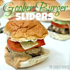 burgers topped with peanut butter, goober burgers from the wheel inn in Sedalia Missouri.  these are AMAZING!