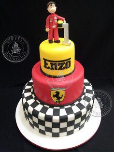 www.mirellarodrigues.com Ferrari Cake, Ferrari Party, Mechanic Cake, 10th Birthday Parties, Themed Parties, Birthday Cake, 40th Cake, Disney Cars Party, Race Car Party