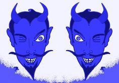 BLUE DEVIL HEADS Art Print