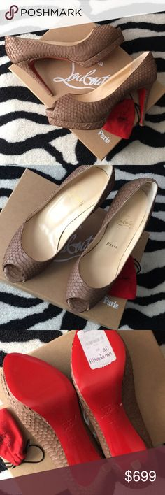 AUTHENTIC Louboutin Altadama 100 Watersnake Opaco Beautiful, authentic and FLAWLESS never worn Christian Louboutin Altadama 100 Watersnake Opaco in Camel. Size 38 (8B). In original box with extra heel caps in small heel cap dustbag. Does not come with large dustbag for the shoes. I do not have the receipt but the original tags are still on the box and the bottom sole (see photos). 100mm small platform heel. Extremely rare, hard to find style. Purchased in 2011. Christian Louboutin Shoes…