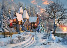 A Guide to Christmas Party Games Christmas Scenes, Christmas Cross, Winter Christmas, Christmas Time, Winter Painting, Winter Art, Kinkade Paintings, Winter Schnee, Cottage Art