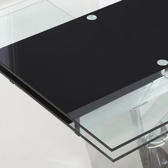Naomi Extendable Glass Dining Table In Black And Extendable Glass Dining Table, White Dining Table, Table And Chairs, Rectangle Shape, Modern, Black, White Dining Room Table, Trendy Tree, White Dining Table Set