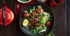 Sticky chicken meatballs pair perfectly with soba noodles in this easy teriyaki stir-fry.