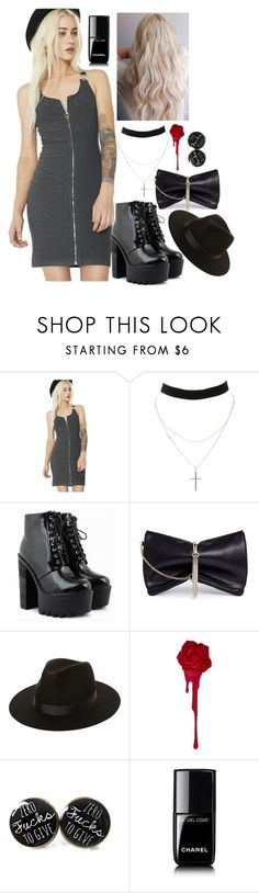 """""""And I remember being cold, when my apartment used to heat up from the kitchen stove"""" by katiede-lannoy ❤ liked on Polyvore featuring Storia, Charlotte Russe, Jimmy Choo, Lack of Color, Chanel and kitchen"""