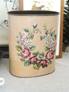 Vintage Tin Ware Waste Paper Basket Cottage Life by wilshepherd Nest Building, Waste Paper, Paper Basket, Rose Cottage, Vintage Shops, Beautiful Things, Repurposed, Shabby Chic, Roses