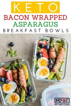 Keto Bacon Wrapped Asparagus Breakfast Bowls - Smokey bacon wrapped asparagus is served on a bed of greens with eggs and berries for the perfect paleo breakfast recipe or keto breakfast recipe. Healthy Breakfast Options, Paleo Breakfast, Breakfast Bowls, Breakfast Recipes, Breakfast Ideas, Paleo Vegan, Vegan Snacks, Vegetarian, Lunch Recipes