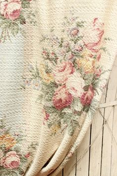 vintage rose barkcloth fabric