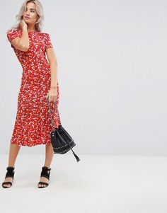 cute red midi dress.. great for work