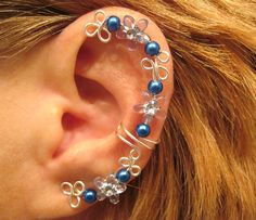 Non Pierced Blue Celtic Star Ear Cuff 1 Cuff