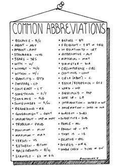 Note taking abbreviations                                                                                                                                                                                 More