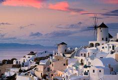 океан, город, вода, дома, закат, греция, Oia, облака, небо