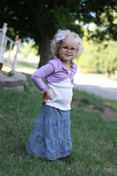 long denim skirt for little girl