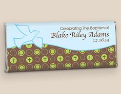 Christening Party Favors: Personalized Chocolate Wrappers - WrappedHersheys.com #customcandy #christening #baby