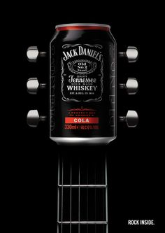 "Jack Daniel's ""Rock Inside"" guitar print ad"