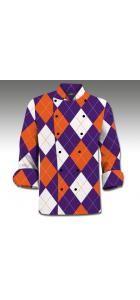 Purple & Orange Argyle Chef Coat www.loudmouthgolf.com Made to Order Chef Coats! Chef Coats, Chef Jackets, Orange, Purple, Men, Fashion, Moda, Fashion Styles, Guys