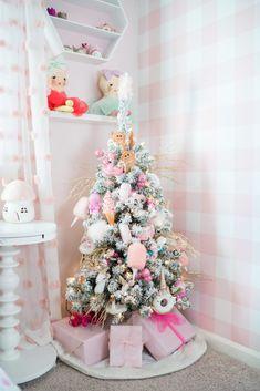 Little Girls Christmas Tree - Pink Christmas Tree Decorations - Christmas Pink Christmas Tree Decorations, Christmas Trees For Kids, Flocked Christmas Trees, Beautiful Christmas Trees, Christmas Room, Noel Christmas, Christmas Crafts, Disney Christmas, Rustic Christmas