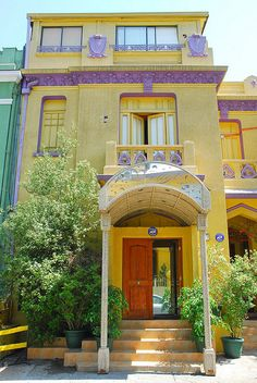 Purple and Yellow Hotel, Providencia, Santiago, Chile Purple Yellow, Mellow Yellow, Bolivia, Traveling With Baby, Traveling By Yourself, Equador, Colourful Buildings, Shops, End Of The World