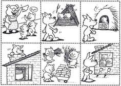 The three little pigs - De drie biggetjes story sequencing Sequencing Cards, Story Sequencing, Peppa Pig Coloring Pages, Colouring Pages, Coloring Sheets, Book Activities, Preschool Activities, 3 Little Pigs Activities, Three Little Pigs Story
