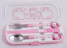 Fork. Spoon. And adorable little choppy chopsticks in the middle!