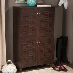 Baxton Studio Rhodes Dark Brown 4-door Shoe Cabinet | Overstock.com Shopping - The Best Deals on Media/Bookshelves