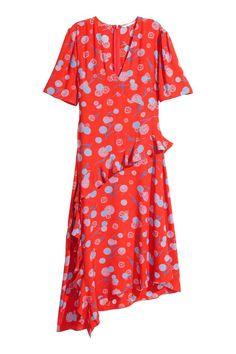 Sukienka z falbankami - Czerwony/Wzór - ONA | H&M PL