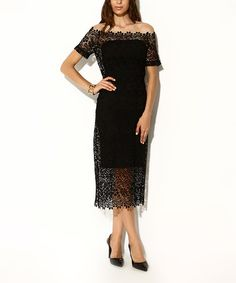 Another great find on #zulily! Black Lace Off-Shoulder Midi Dress - Women & Plus #zulilyfinds