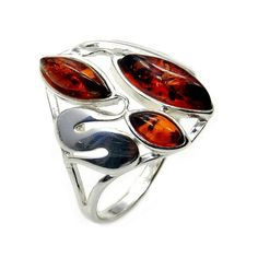 Sterling Silver Natural Baltic Amber Ring Size 7 by TheSilverPlaza