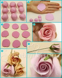 fondant rose tutorial - I would use modeling chocolate instead Fondant Flower Tutorial, Fondant Flowers, Sugar Flowers, Polymer Clay Flowers, Fimo Clay, Polymer Clay Crafts, Decoration Patisserie, Gum Paste Flowers, Fondant Decorations