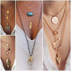 Layered Necklaces. How to accessorized a plain t-shirt. Long Gold Necklace. Boho Chic