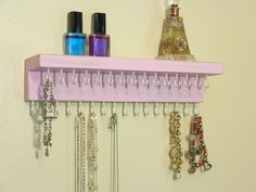 Necklace Holder - Jewelry Organizer - Jewelry Storage - 31 Hooks - Shelf - Distressed Pale Pink - Many Other Colors Too - Ready To Hang Jewellery Storage, Jewelry Organization, Necklace Holder, Pale Pink, 3 D, Hanger, Display, Etsy, Color
