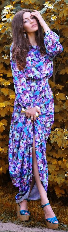 Love Republic Blue And Purple Floral Prom Maxi Dress by The Katherine's Way