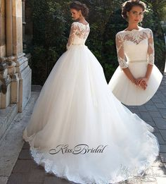 New Romantic Long Boat Neck Long Sleeves Chapel Train Lace Tulle A-Line Wedding Gowns