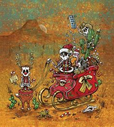 Day of the Dead Artist David Lozeau, Christmas Cards, Greeting Card Art, Dia de los Muertos Art, Sugar Skull Art, Candy Skull, Skull Art, Skeleton Art - 1