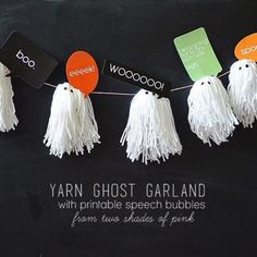 How to make a yarn ghost garland (with printable speech bubbles!)
