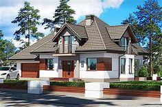 Projekt domu Śnieżka N 129,49 m2 - koszt budowy 220 tys. zł - EXTRADOM Home Fashion, Cabin, Mansions, House Styles, Houses, Home Decor, Homes, Decoration Home, Manor Houses