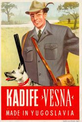 Interesting poster for textile company Vesna, unknown year at the end of 1940s, signed by Ozeha. Source: Zvonimir Faist, The dictates of the time, posters from the late 1930s to 1960s, exhibition catalog, Zagreb City Museum