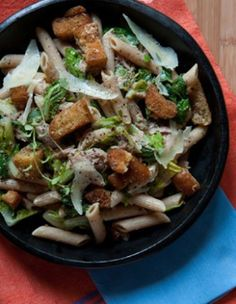 Penne a la Caeser Olive oil, rustic bread, oregano, garlic clove, kosher salt, black pepper, parmesan, romaine lettuce, anchovy paste, tuna, lemon, whole-wheat/penne pasta. http://www.ivillage.com/penne-alla-cesare-caesar-salad-pasta/3-r-61029
