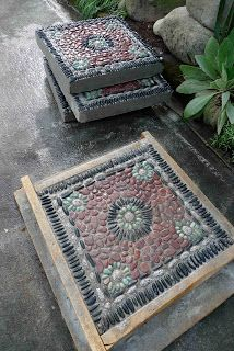 Building Pebble Mosaic Stepping Stones.  This guy's blog is amazing!