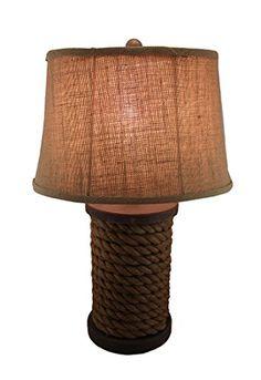 Rustic Wooden Rope Spool Lamp w/Burlap Shade - Beachfront Decor