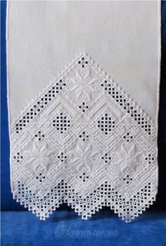 Gallery.ru / Фото #2 - рушник - natalinochka Embroidery Monogram, Embroidery Patterns, Cutwork Embroidery, White Embroidery, Bargello, Lace Knitting, Needlepoint, Lace Drawing, Linens And Lace
